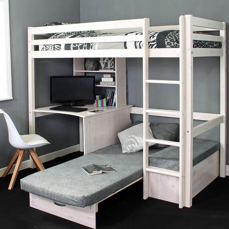 modelo de beliche com escrivaninha embaixo e cama extra