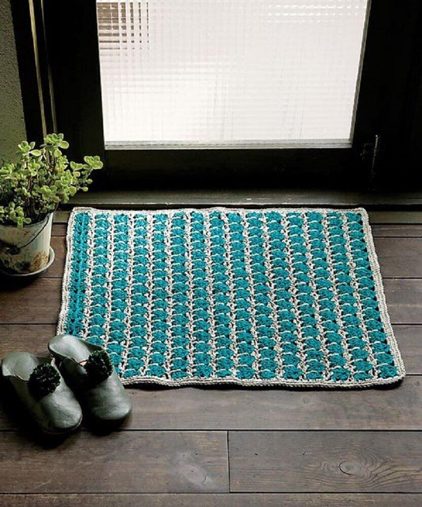 modelo de tapete quadrado de crochê