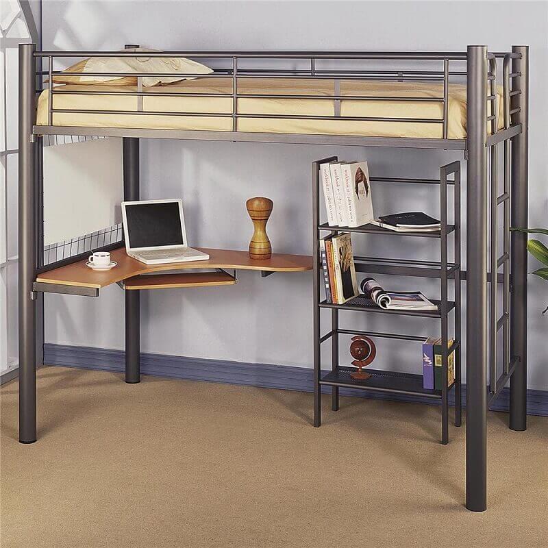 modelo simples de beliche com escrivaninha embaixo