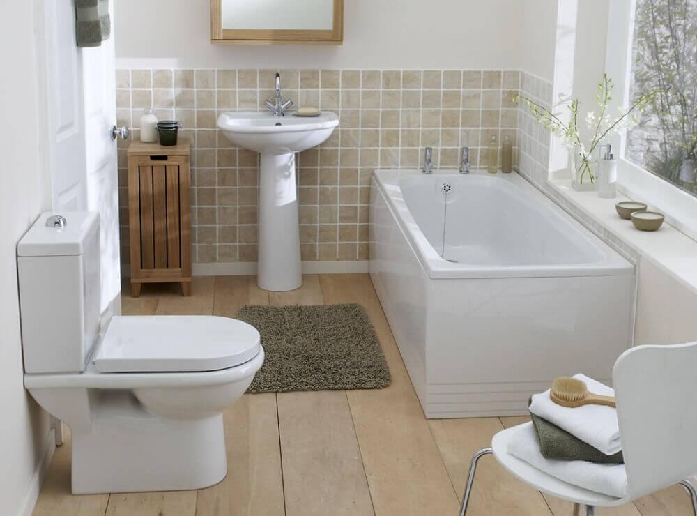 banheiro simples com banheira