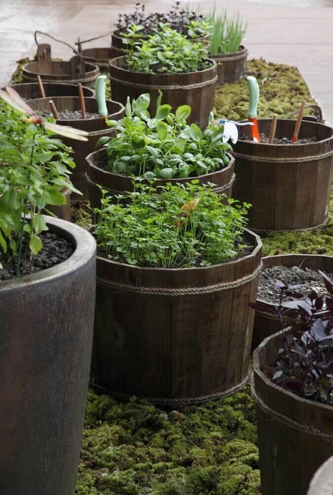 modelos de jardim com vasos grandes