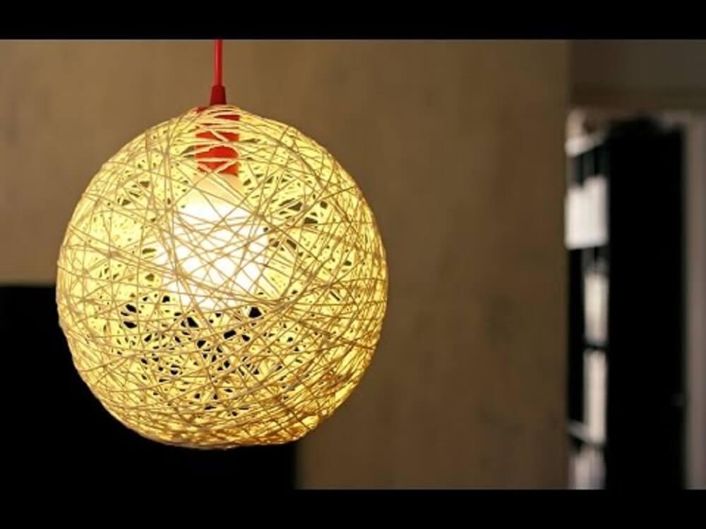 pendente vermelho luminária de barbante