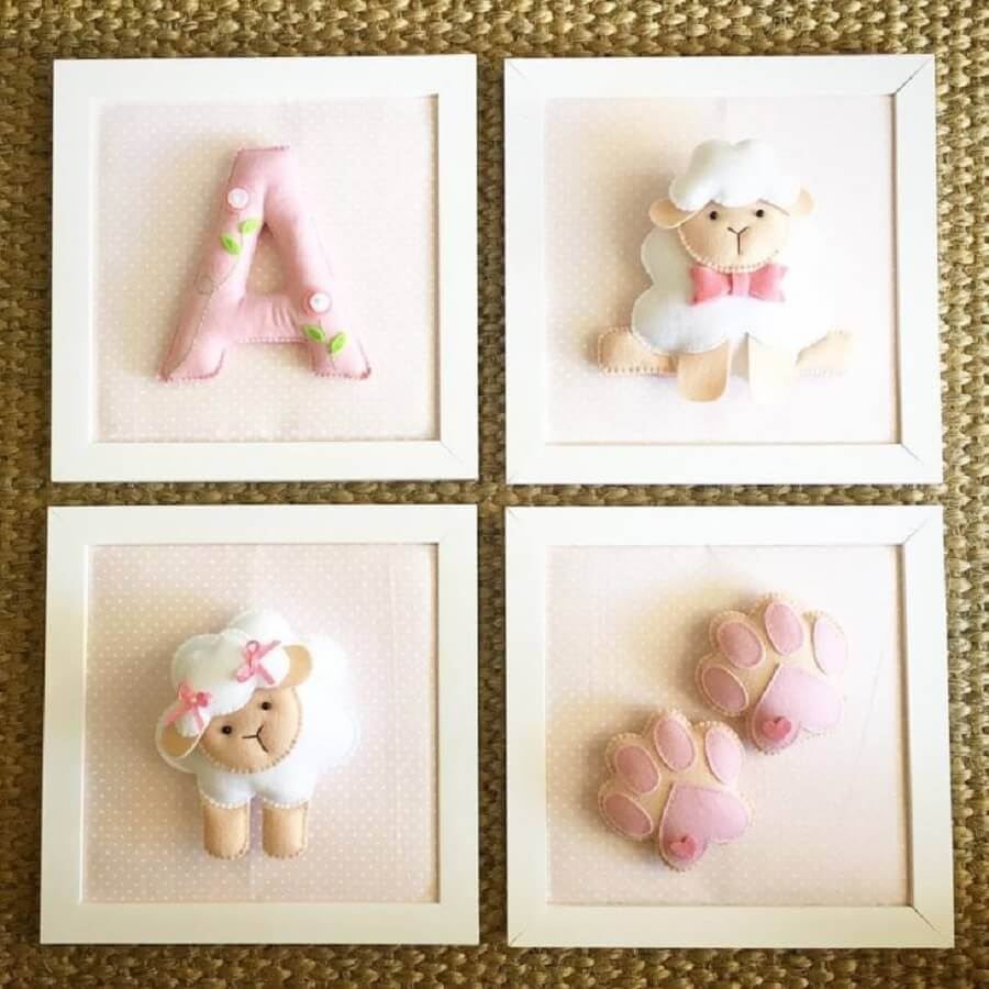 quadrinhos decorativos de artesanato com feltro para bebê