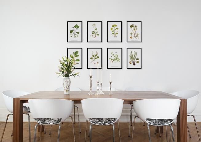 quadro de folhas na sala de jantar