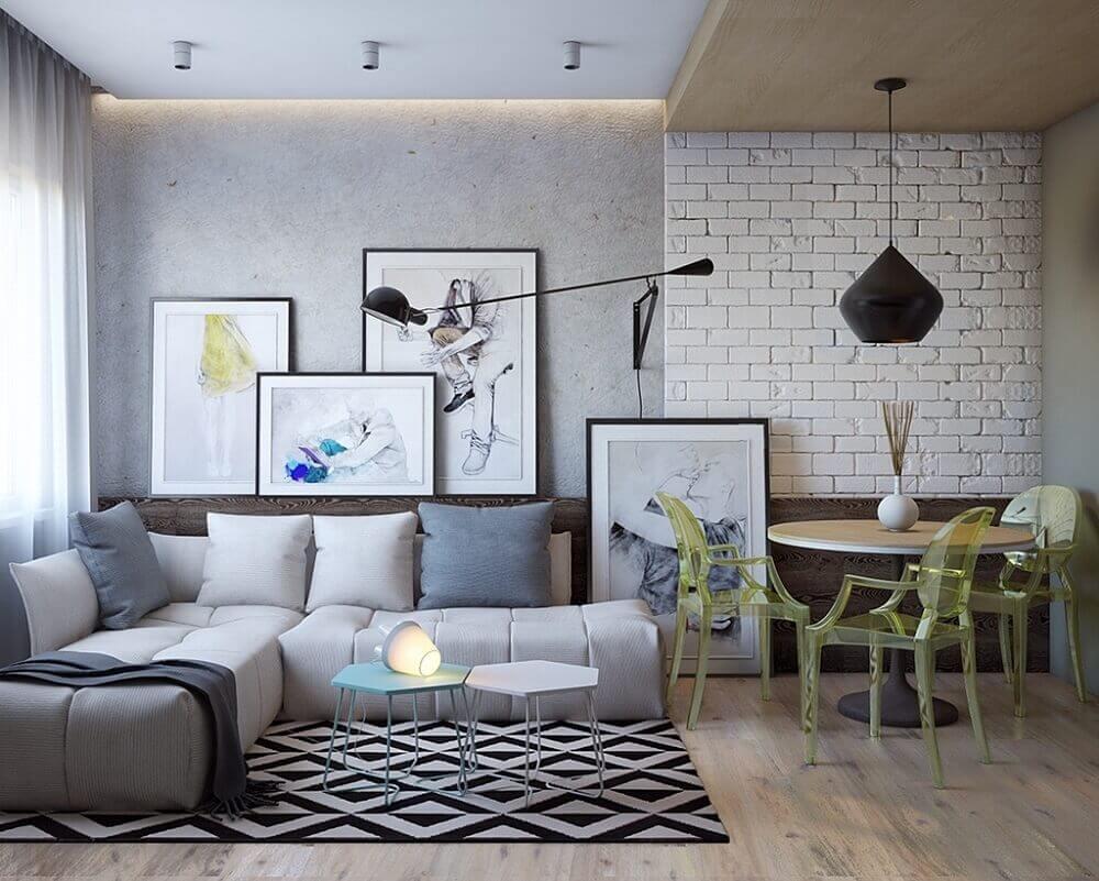 sala com tijolinho branco e cimento queimado