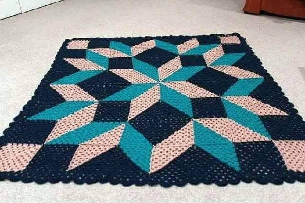 tapete de crochê quadrado com gráfico