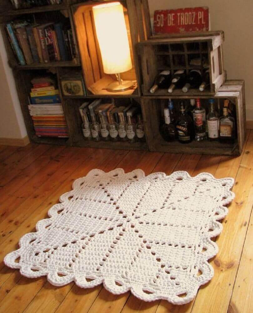 tapete quadrado de crochê pequeno