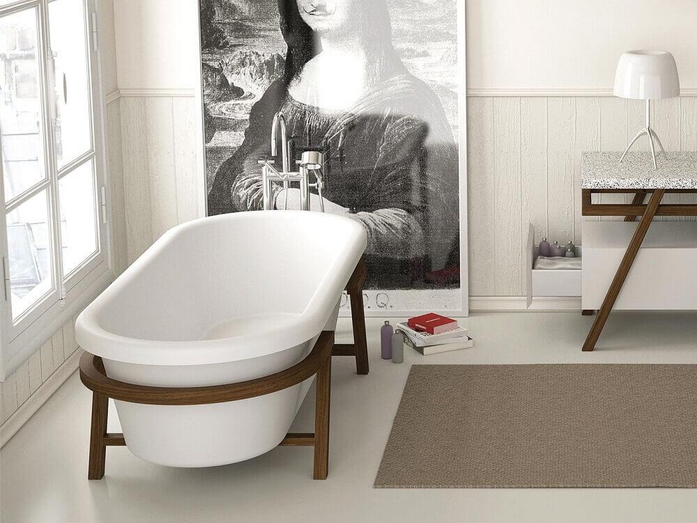 tipos de banheira de apoio com suporte de madeira