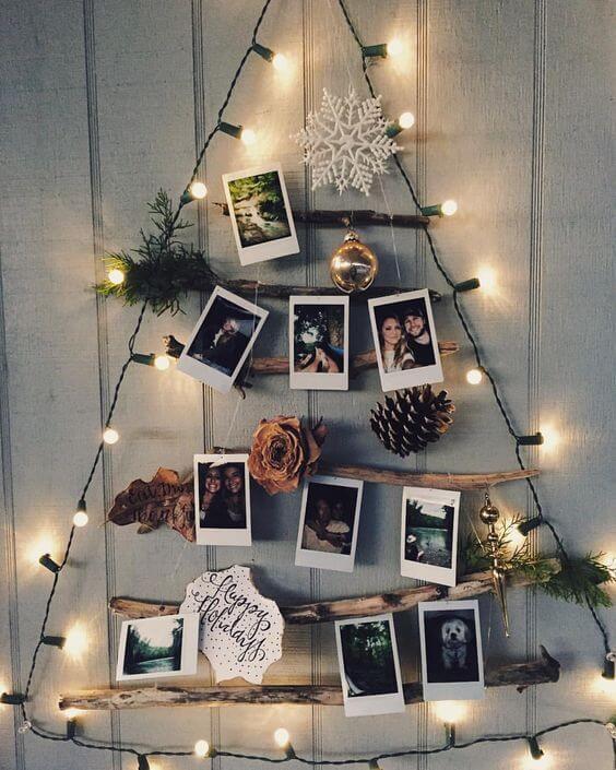 Até o natal pode ser decorado com o varal de fotos iluminado