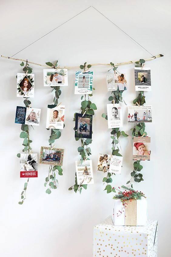 Varal de fotos com plantas para decorar