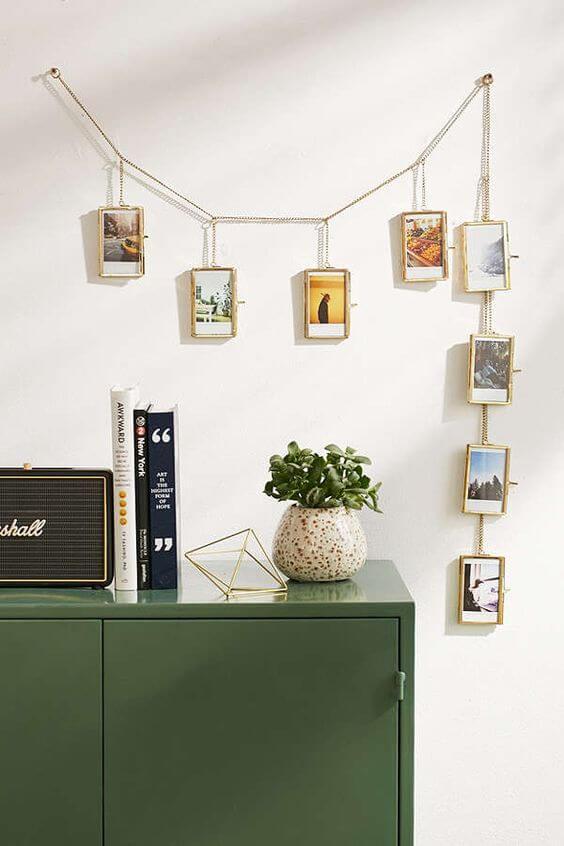 Varal de fotos na decoração de casa