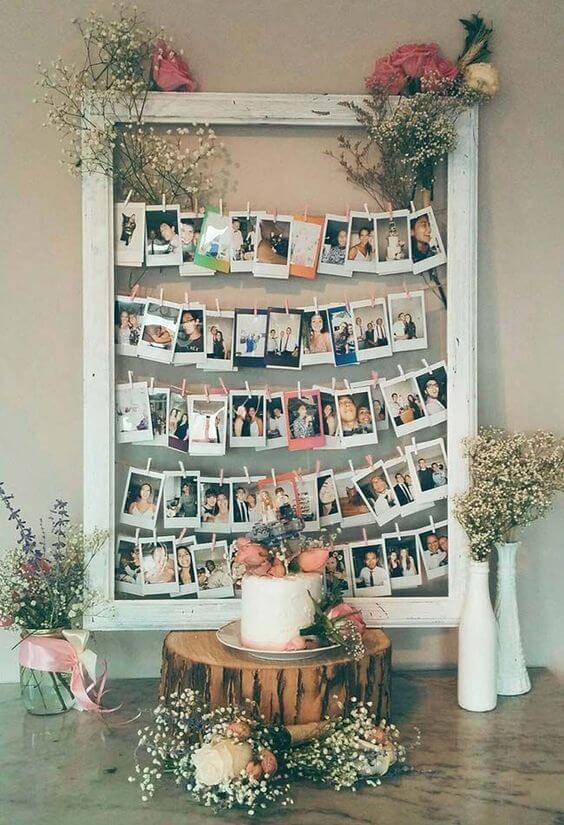 Varal de fotos na festa em casa