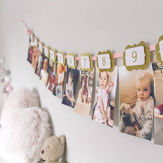 Varal de fotos no quarto infantil