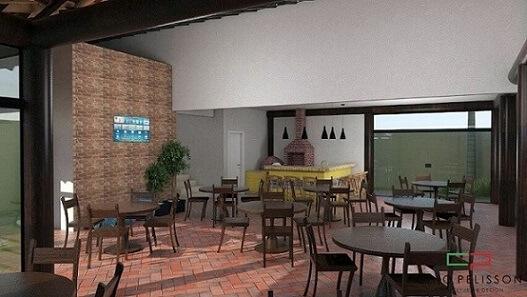 Área de lazer com churrasqueira e muitas mesas Projeto de Arquiteto Caio Pelisson