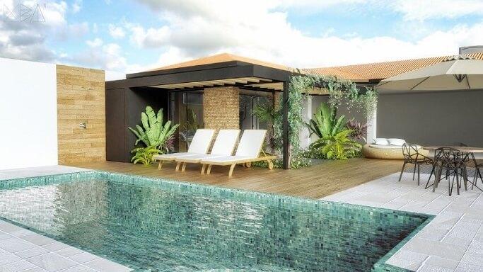 Área de lazer com piscina Projeto de Uba Arquitetura