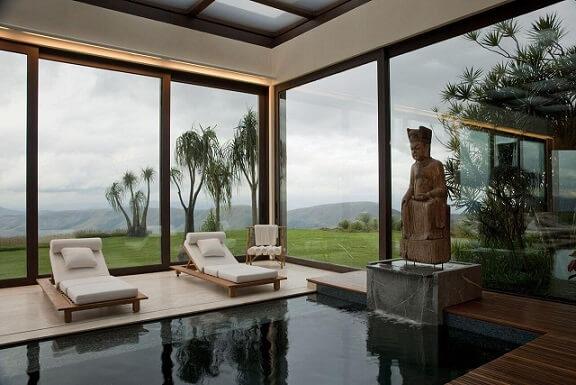 Área de lazer com piscina coberta Projeto de Eduarda Correa