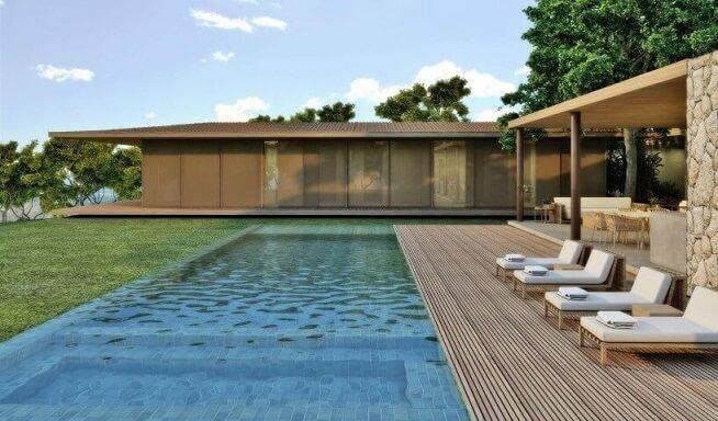 Área de lazer com piscina infinita Projeto de Triplex Arquitetura