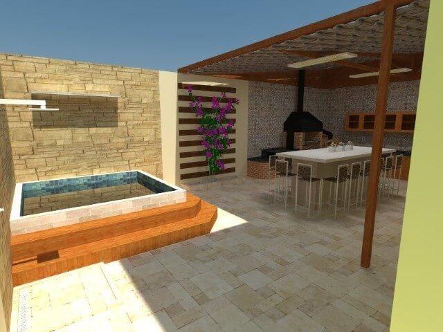 Área de lazer pequena com piscina e churrasqueira Projeto de Mayline Mendes