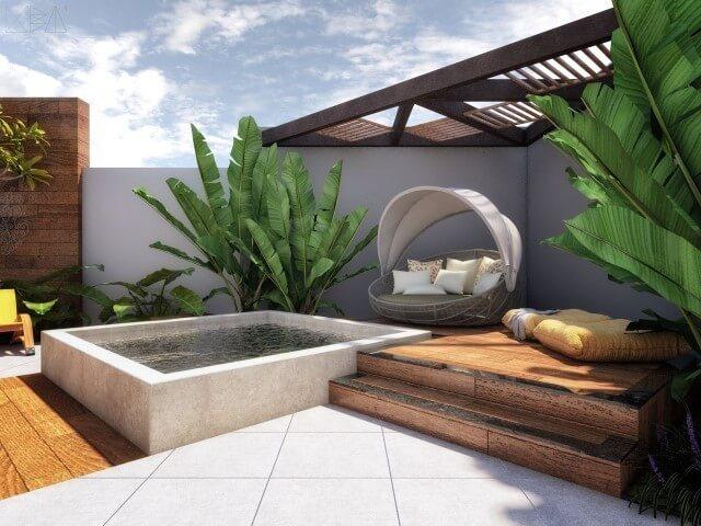 Área de lazer pequena com spa e cantinho zen Projeto de Uba Arquitetura