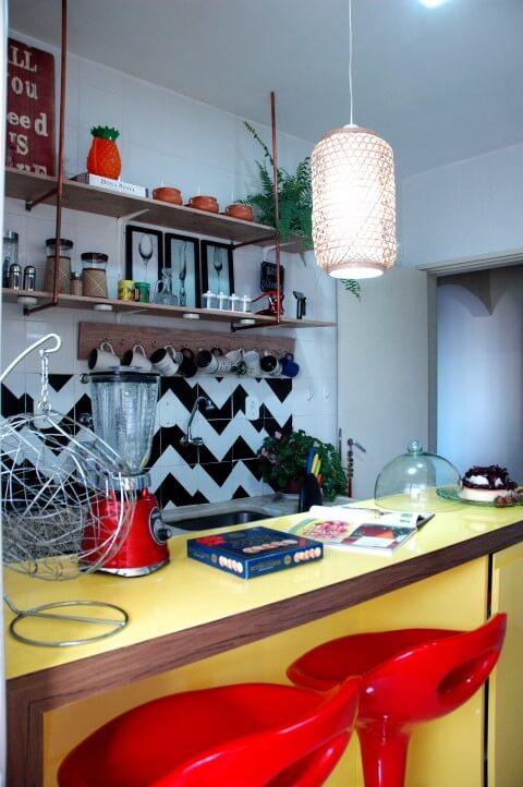 Balcão da cozinha da decoração afetiva Murilo Grilo