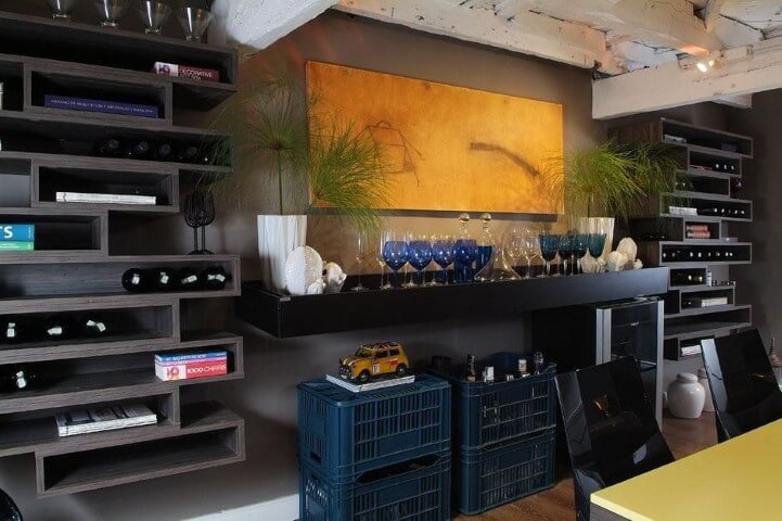 Bar em casa na sala Projeto de Gabriele Luiz