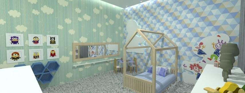 Cama montessoriana em quarto verde e azul Projeto de Aline Oliveira