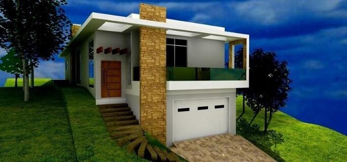 Casa com varanda em construção em declive Projeto de Onda Construction