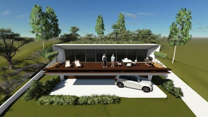 Casa com varanda grande e espreguiçadeiras Projeto de Leticia Hammerschmidt