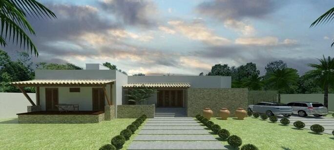 Casa com varanda na frente Projeto de Renato Teles Arquitetura