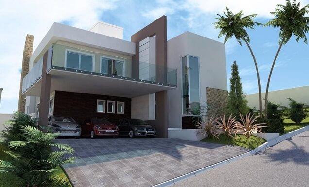 Casa com varanda no andar superior Projeto de Jonathan Machado