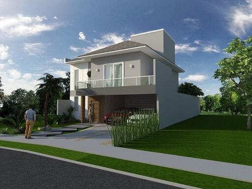 Casa com varanda sobre a garagem Projeto de Arquiteto Caio Pelisson
