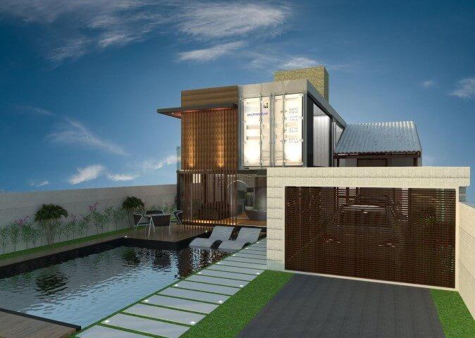 Casa container com garagem Projeto de Ghiorzi Tavares Arquitetura