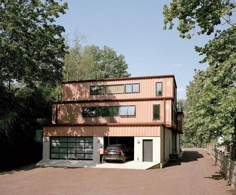 Casa container com garagem térrea