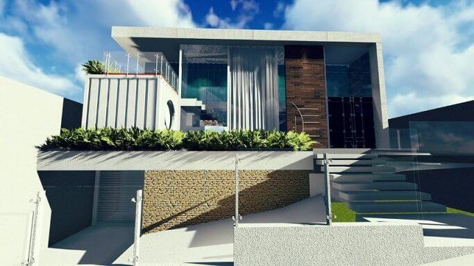 Casa container com porta de madeira Projeto de Ghiorzi Tavares Arquitetura