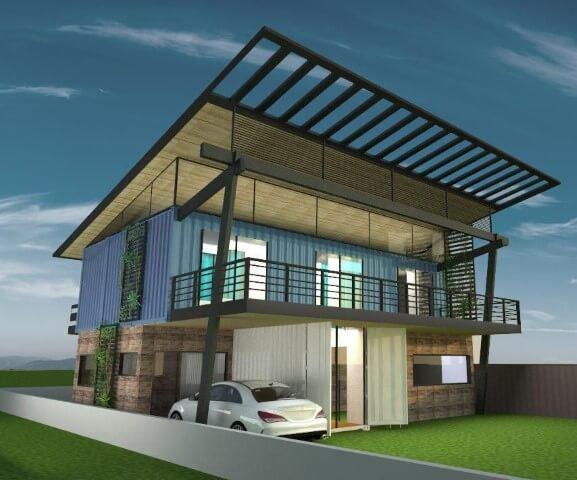 Casa container de dois andares Projeto de Ghiorzi Tavares Arquitetura