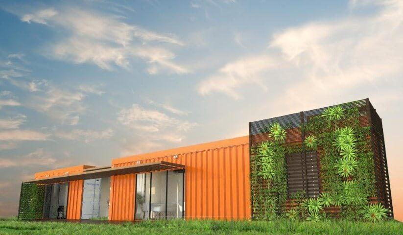 Casa container laranja Projeto de Ghiorzi Tavares Arquitetura