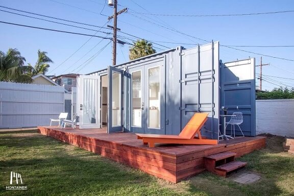 Casa container simples azul clara