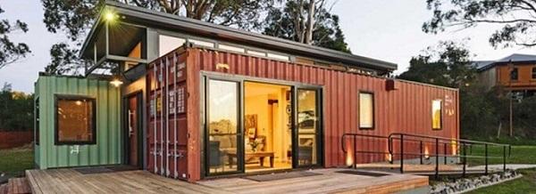 Casa container vermelha com verde