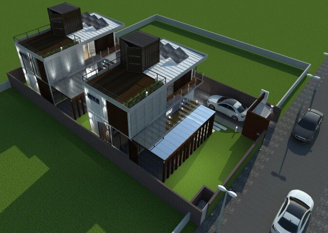 Casa container vista superior Projeto de Ghiorzi Tavares Arquitetura