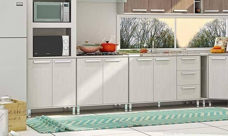 Cozinha simples com passadeira com estampa zigue zague Projeto de LojasKD