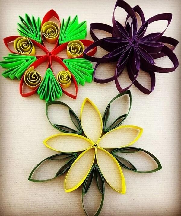 Crie flores por meio do artesanato com rolo de papel higiênico. Fonte: Crina Mina