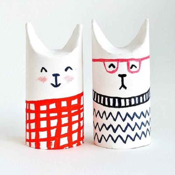 Crie pequenos animais com artesanato com rolo de papel higiênico. Fonte: Pinterest