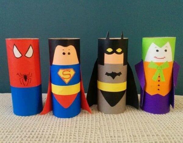 Crie personagens famosos a partir do artesanato com rolo de papel higiênico. Fonte: Revista Artesanato