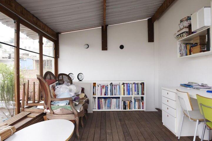 Deck de madeira no home office Projeto de Buji