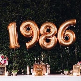 Decoração de aniversário simples com balões de números