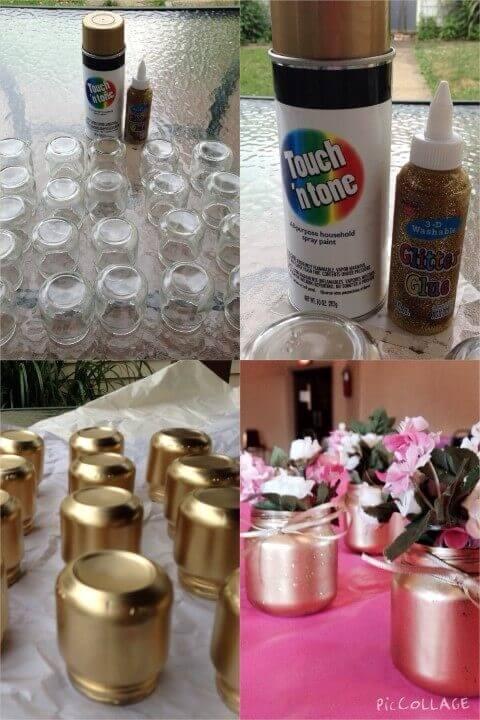 Decoração de aniversário simples com potes pintados