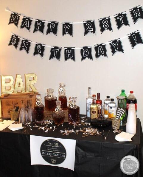 Decoração de aniversário simples masculino com bar