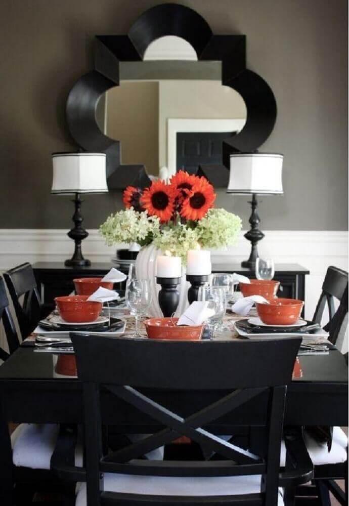 Decoração com espelhos decorativos para sala de jantar