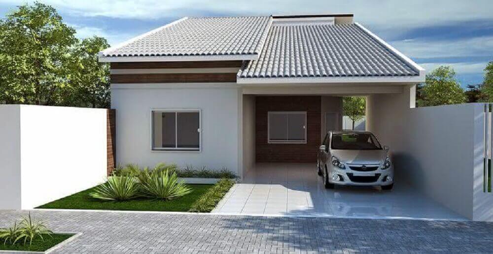 Fachada de casa simples com garagem