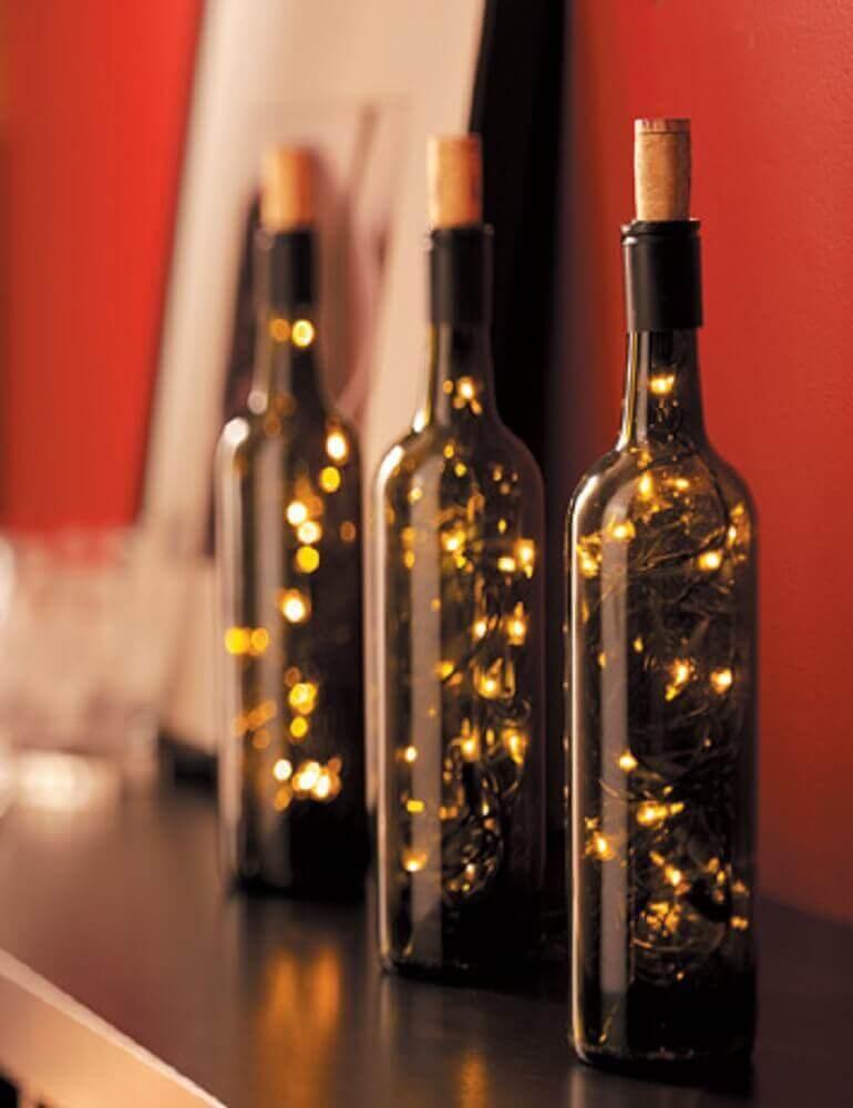 garrafa decorada com pisca pisca